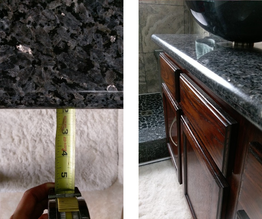 How to determine countertop overhang just needs paint for Granite countertop width